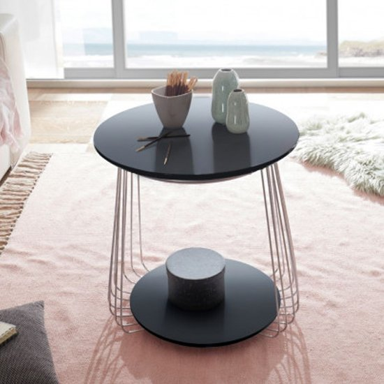 Vilnius Small Round Wooden Coffee Table In Black