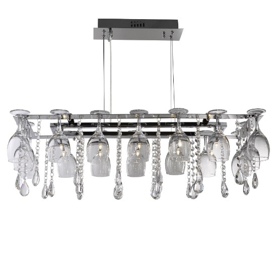 Vino 10 Light Ceiling In Chrome With Wine Glass Trim