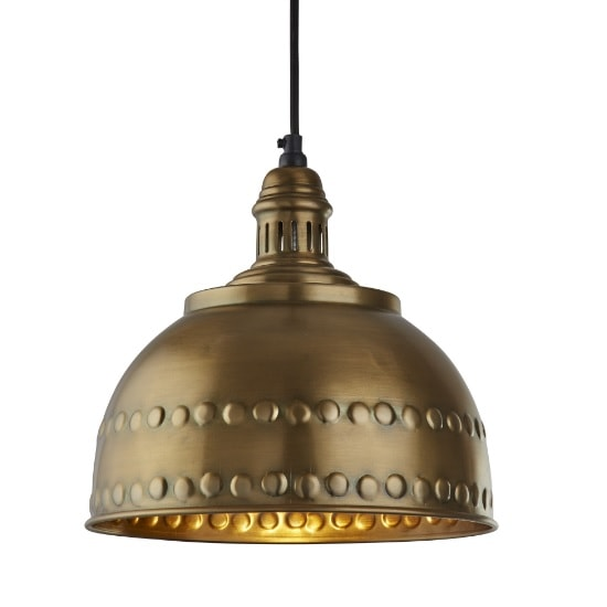 Vintage Industrial Studded Pendant In Antique Brass