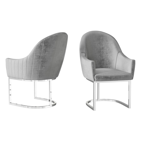Viola Silver Grey Velvet Fabric Dining Chairs In Pair