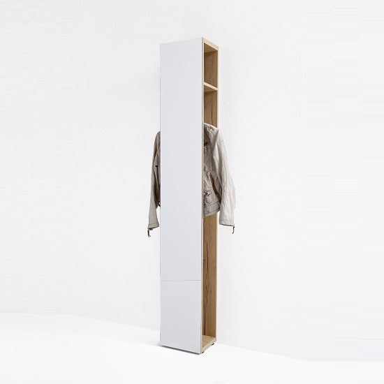 Viola Mirrored Wall Mounted Coat Rack In Oak