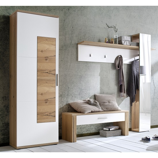 Viola Wooden Hallway Wardrobe Left In Oak And Matt White