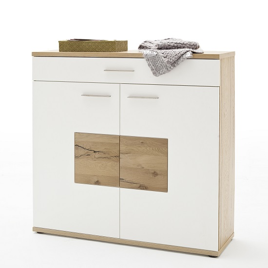 Viola Wooden Shoe Cabinet Wide In Oak And Matt White 30715