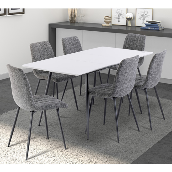 Virgo Extending White Gloss Dining Set With 6 Grey Fabric Chairs