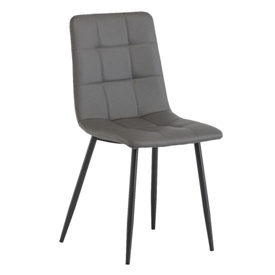 Virgo Faux Leather Dining Chair In Grey
