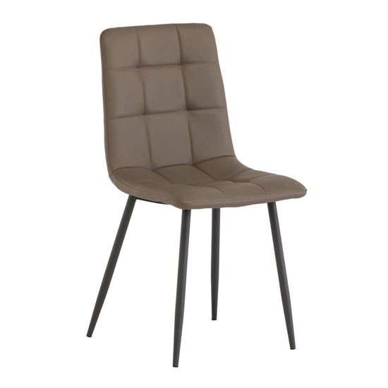 Virgo Faux Leather Dining Chair In Taupe