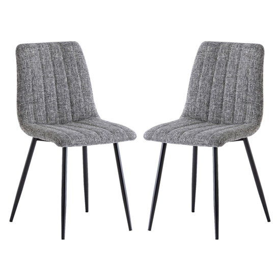 Virgo Grey Fabric Dining Chairs In Pair