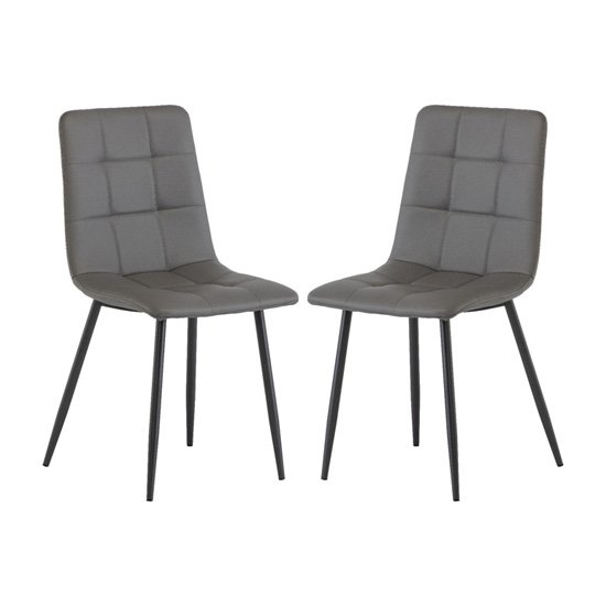 Virgo Grey Faux Leather Dining Chairs In Pair