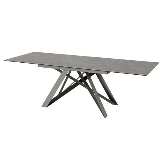 Visage Extending Ceramic Dining Table In Grey