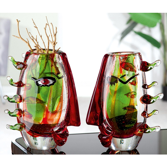 Viso Glass Set Of 2 Decorative Vase In Green And Red_1
