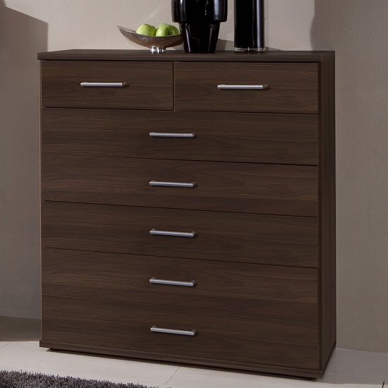 Vista Chest Of Drawers In Columbia Walnut Effect With 7 Drawers