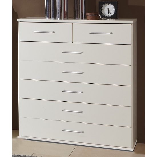 Vista Wooden Chest Of Drawers In White With 7 Drawers