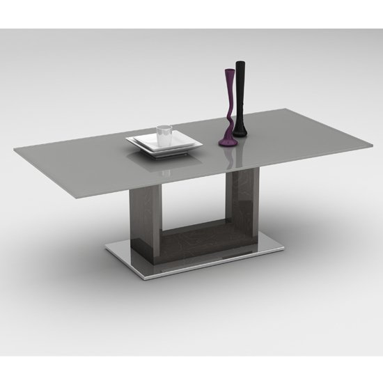 Vista Grey Glass Coffee Table With Polished Stainless Steel Base