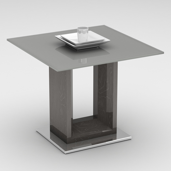 Vista Grey Glass End Table With Polished Stainless Steel Base