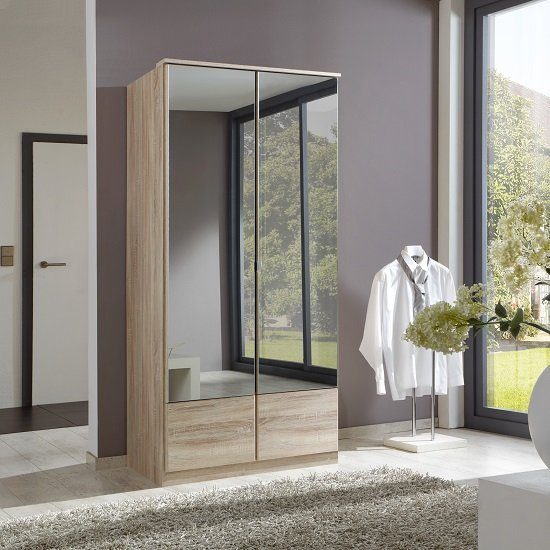 Vista Mirrored Wardrobe In Oak Effect With 2 Doors