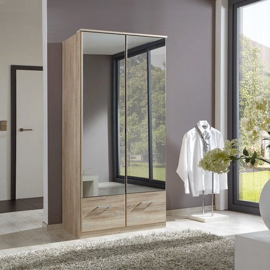 Vista Mirrored Wardrobe In Oak Effect With 2 Doors And 2 Drawers