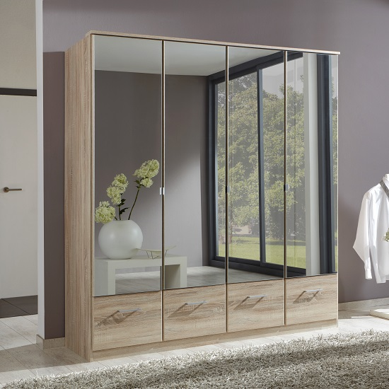 Vista Mirrored Wardrobe Large In Oak EffectAnd 4 Doors 4 Drawers