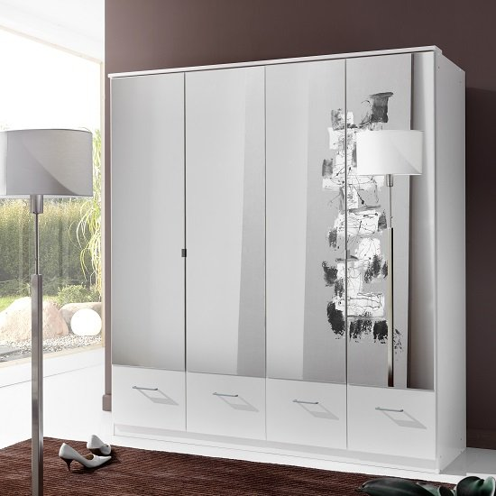 Vista Mirrored Wardrobe Large In White With 4 Doors 4 Drawers