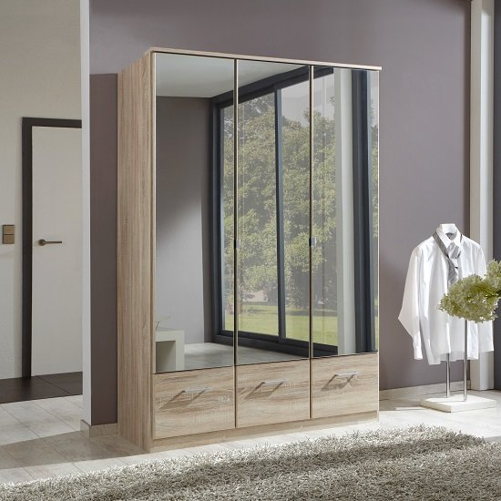 Vista Mirrored Wardrobe In Oak Effect With 3 Doors And 3 Drawers