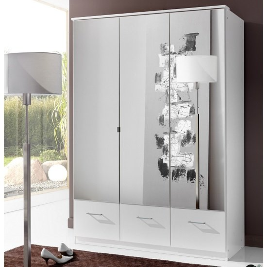 Vista Mirrored Wardrobe In White With 3 Doors And 3 Drawers