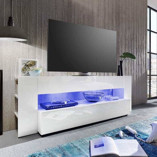 Vista Tv Stand In White With High Gloss Fronts And Led