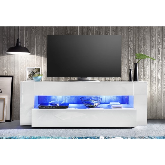 Vista TV Stand In White With High Gloss Fronts And LED Lighting_10