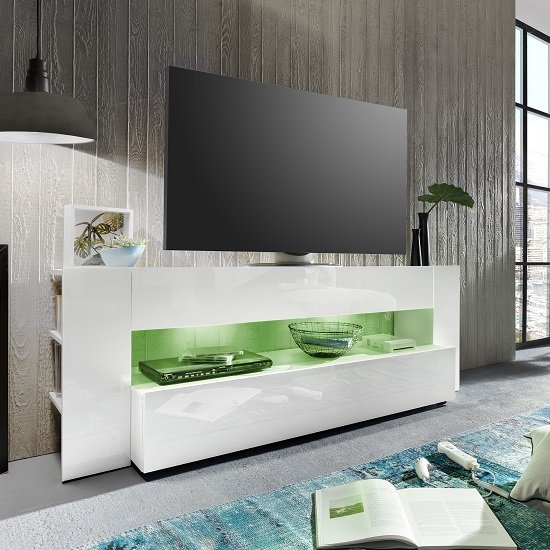 Vista TV Stand In White With High Gloss Fronts And LED Lighting_5