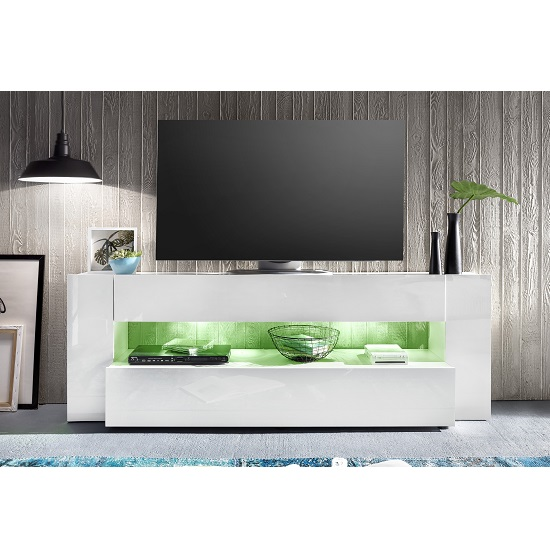 Vista TV Stand In White With High Gloss Fronts And LED Lighting_6