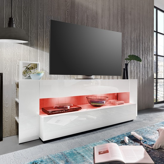 Vista TV Stand In White With High Gloss Fronts And LED Lighting_2