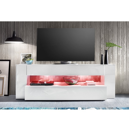 Vista TV Stand In White With High Gloss Fronts And LED Lighting_7