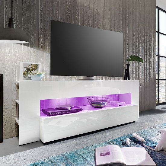 Vista TV Stand In White With High Gloss Fronts And LED Lighting_3