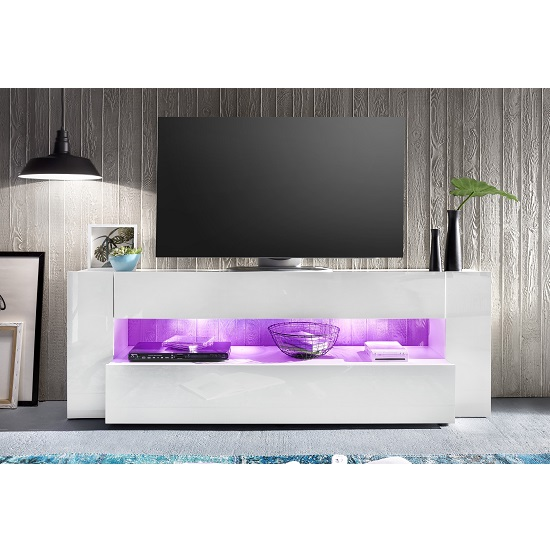 Vista TV Stand In White With High Gloss Fronts And LED Lighting_8