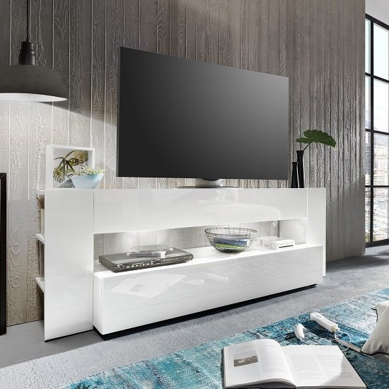 Vista TV Stand In White With High Gloss Fronts And LED Lighting_4