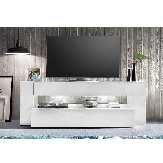 Vista TV Stand In White With High Gloss Fronts And LED Lighting_9