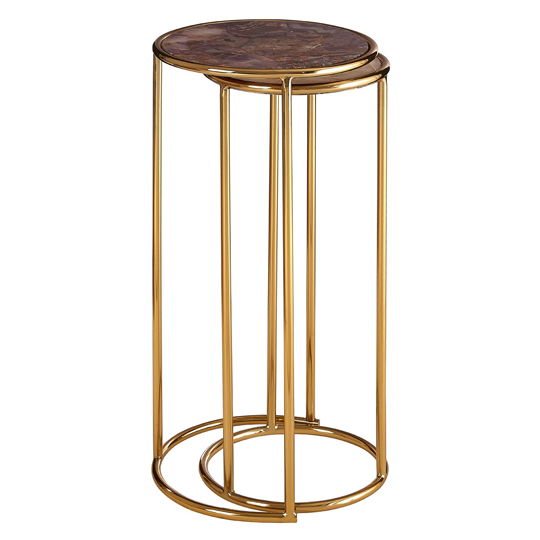 Sansuna Set Of 2 Nesting Side Tables In Gold