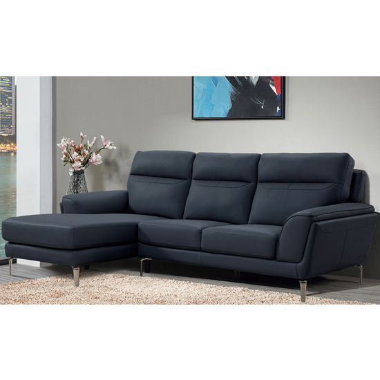 Vitalia Corner Left Handed Leather Sofa Bed In Indigo