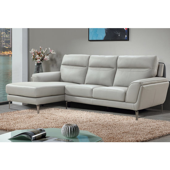 Vitalia Corner Left Handed Leather Sofa Bed In Light Grey