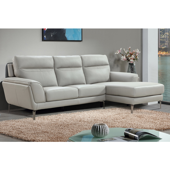 Vitalia Corner Right Handed Leather Sofa Bed In Light Grey