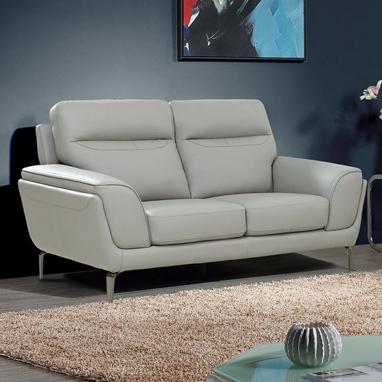 Product photograph showing Vitalia Fixed Leather 2 Seater Sofa In Light Grey