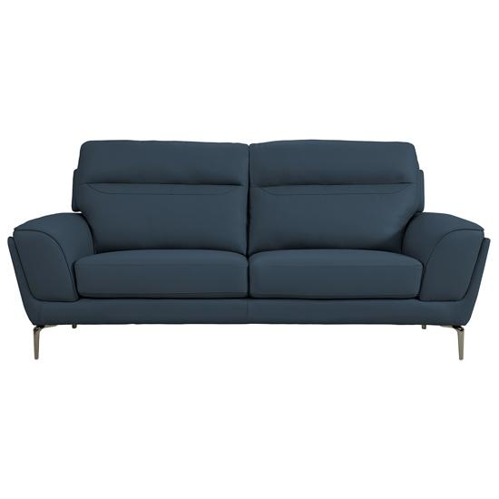 Product photograph showing Vitalia Fixed Leather 3 Seater Sofa In Indigo