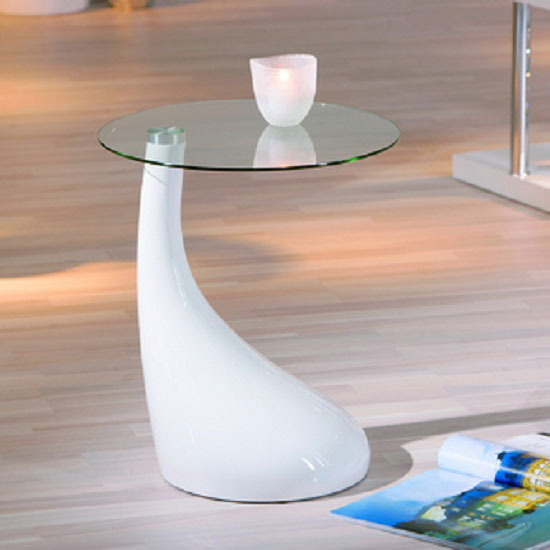 Vito Glass Top End Table With White Gloss Base