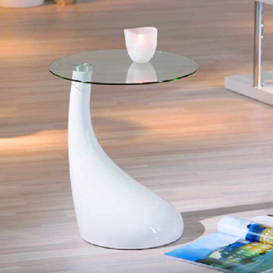 White High Gloss Side End Square 2 Seats Of Coffee Table: Vito Glass Top End Table With White Gloss Base 19047