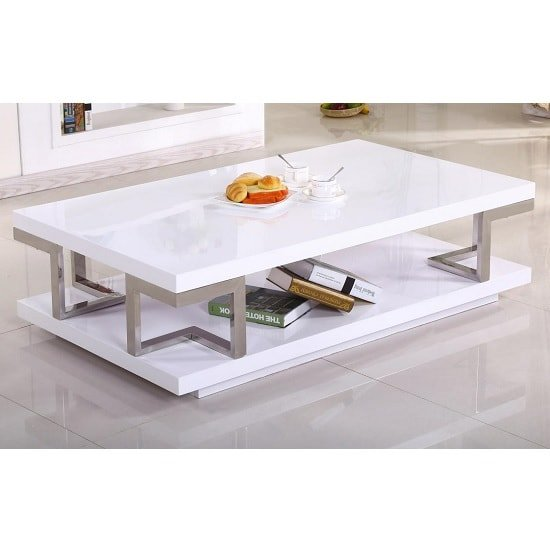 vitra coffee table in high gloss white and stainless steel. Black Bedroom Furniture Sets. Home Design Ideas
