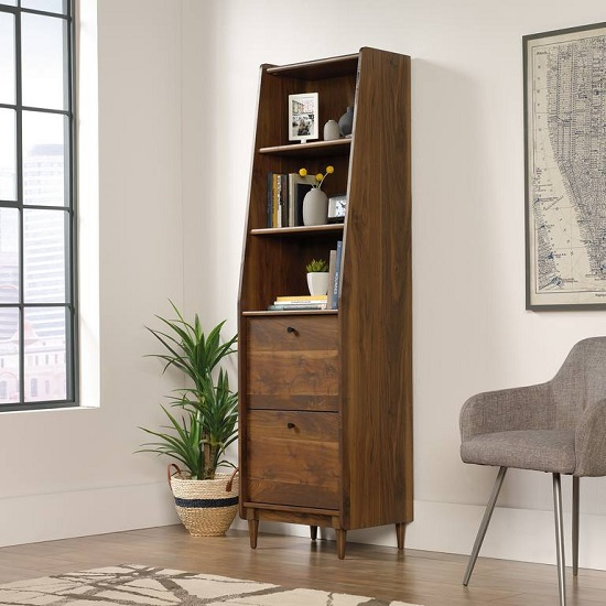 Vittoria Wooden Narrow Bookcase In Walnut And Black