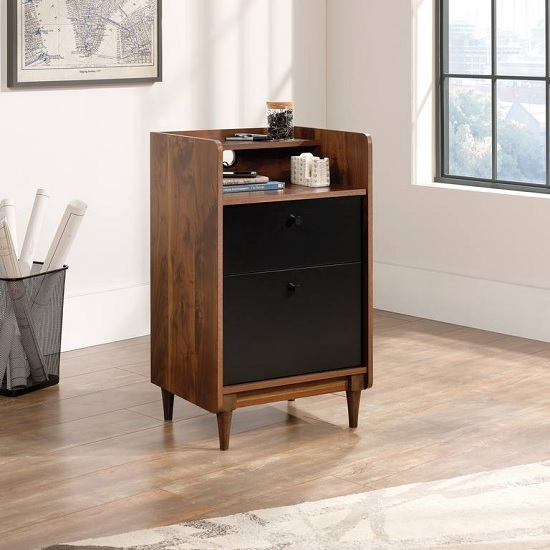 Vittoria Storage Stand In Walnut And Black With 2 Drawers
