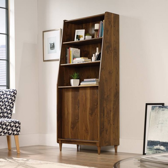Vittoria Wooden Wide Bookcase In Walnut And Black