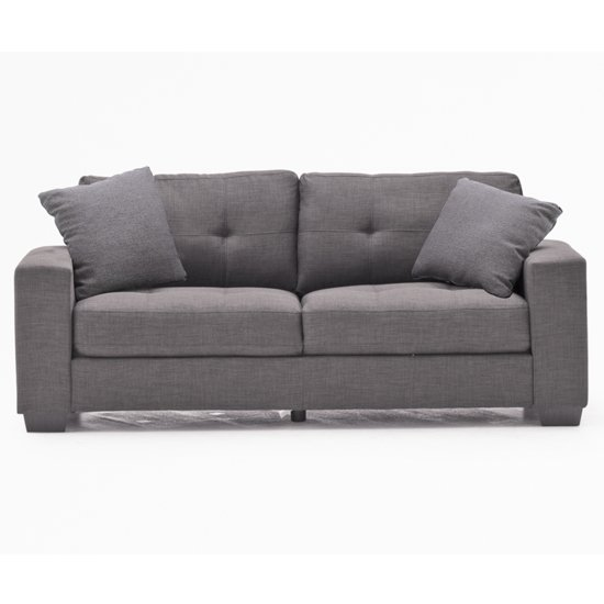 Vivaldi Fabric 3 Seater Sofa In Charcoal With 2 Scatter Cushions_1