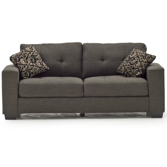 Vivaldi Fabric 3 Seater Sofa In Grey With 2 Scatter Cushions