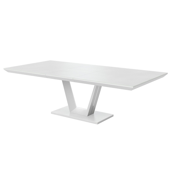 Vivaldi Glass And Wooden Extending Dining Table In Matt White