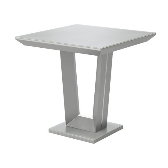 Vivaldi Glass And Wooden Side Table In Matt Grey
